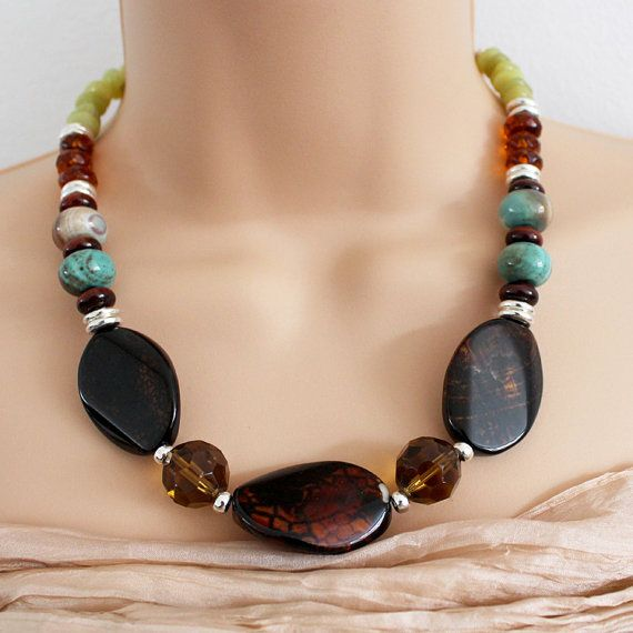 Agate and Jade Necklace by AlixHDesigns on Etsy, $55.00