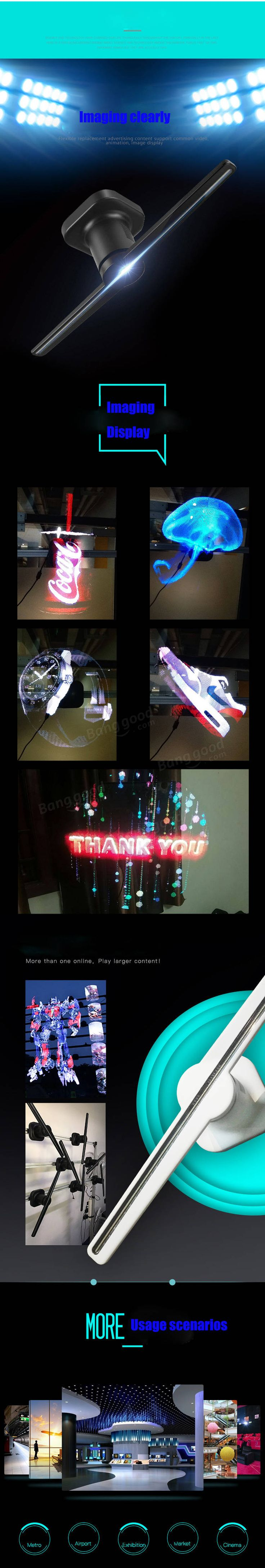 3D Spinning LED Holographic Fan Projection Creates Illusion Of 3D Hologram Graphics For Advertising