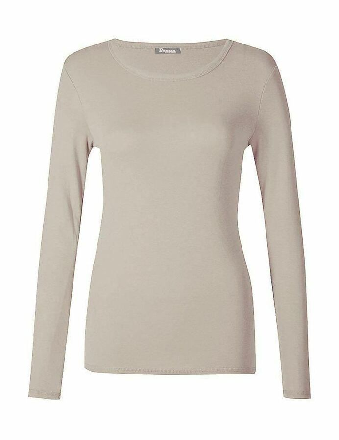 One New Womens Ladies Long Sleeve Plus Size Round Neck T Shirt Plain Stretchy Top 8-26 UK