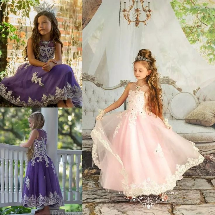 Vintage Flower Girl Dresses For Weddings Sequined Appliqued Pageant Gowns Soft Tulle Tea Length Princess Dress Flower Girls Girls Bridesmaid Dresses From Newdeve, $74.0| Dhgate.Com