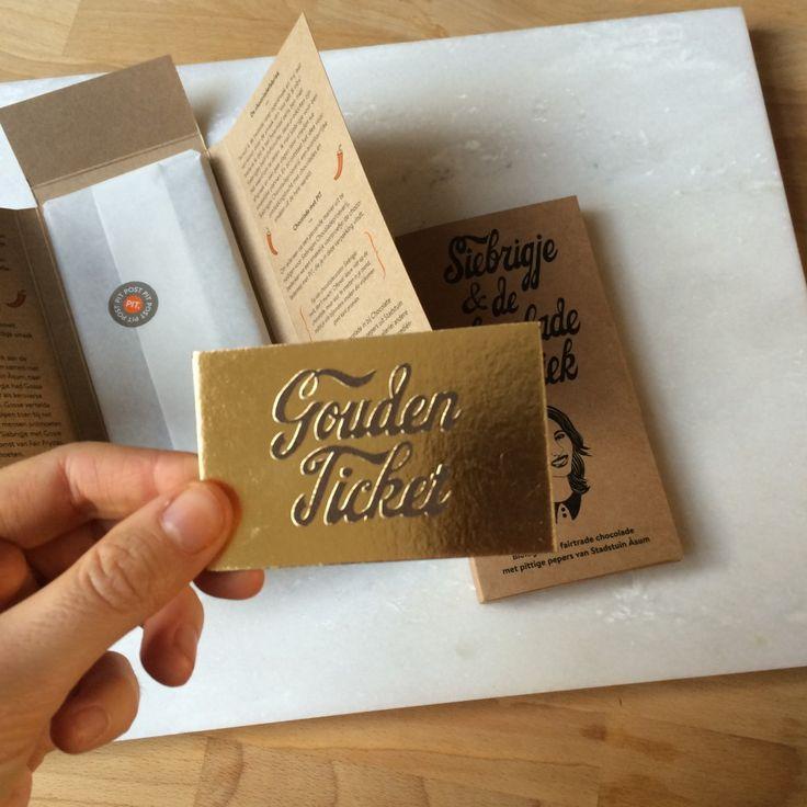 Reep met PIT - relatiegeschenk Andere Chocolade voor Pit Concept & Copy mét Gouden Ticket natuurlijk!