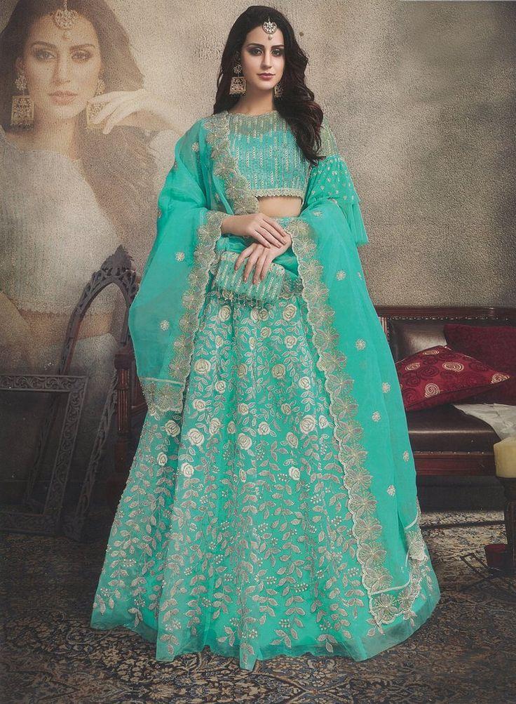 Turquoise Embroidered Organza Designer Lehenga Choli (Unstitched)