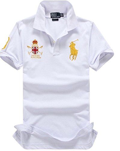 Polo Ralph Lauren Men\u0027S Short Sleeve Lightweight Thin Mesh Custom Fit Shirt  United Kingdom Polo Team, White