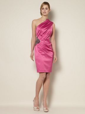 Untold One shoulder ruched dress Fuchsia - House of Fraser