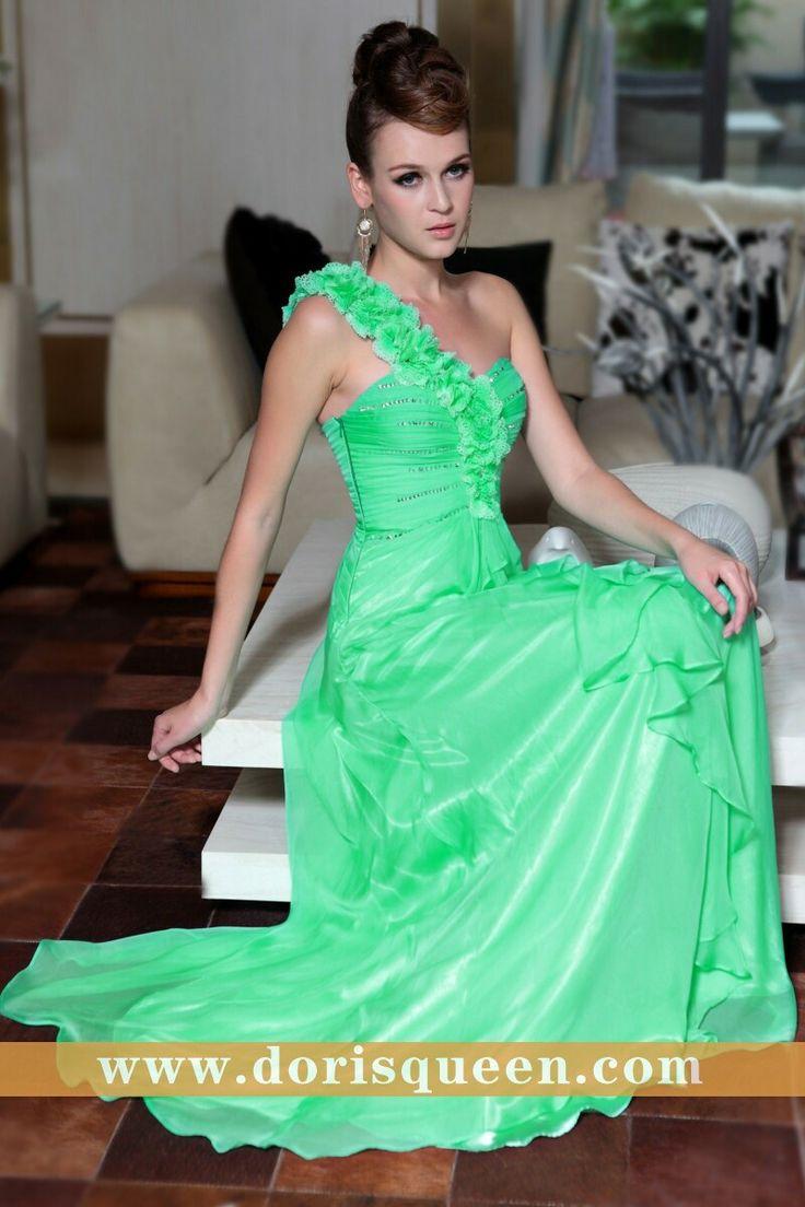 19th Anniversary Big Sale, Dorisqueen One Shoulder Green Fashion Evening Dresses 2014 New Arrival