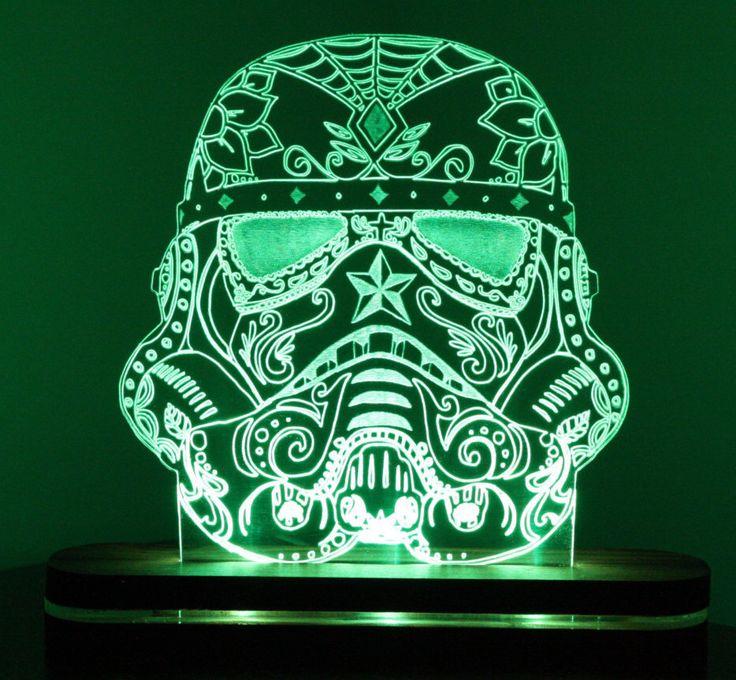 Stormtrooper Star Wars Original Sugarskull Cool Acrylic Desk Lamp / Night light Gift Personalised Garage Mancave Edge Lit by Woodineering on Etsy https://www.etsy.com/listing/264409363/stormtrooper-star-wars-original