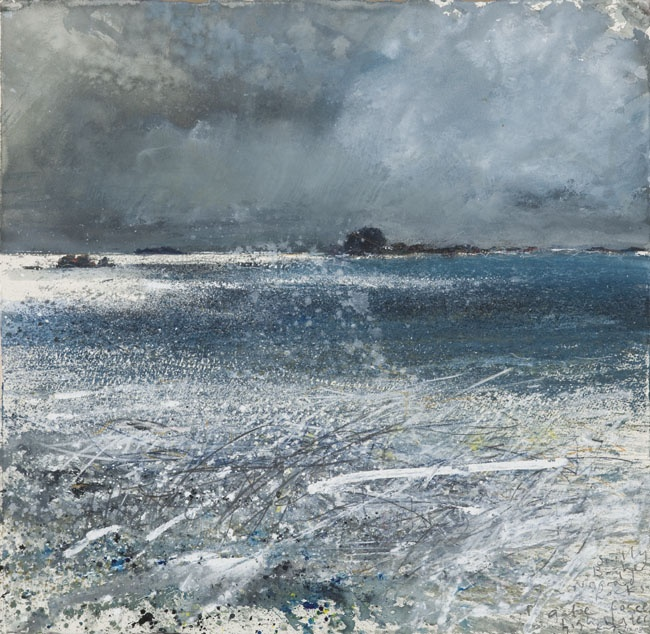 Kurt Jackson - Scilly, Bryher, Norrard Rocks. Gale force, high water, September 2008.