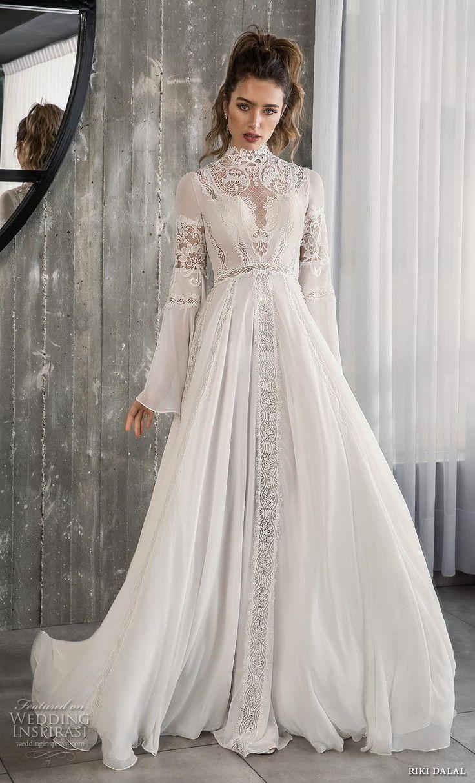 Weddinginspirasi.com mettant en vedette – riki dalal 2018 glamour mariée manche longue cloche …