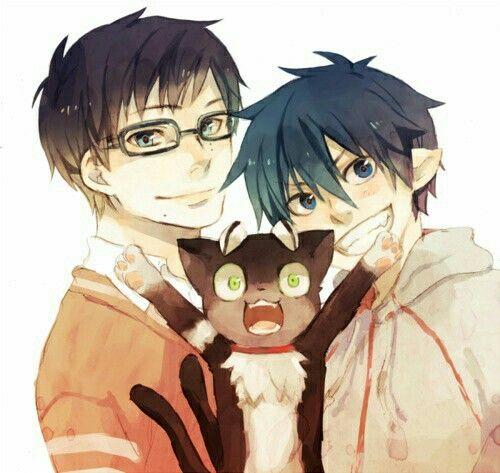 Rin, Yukio, Okumura twins, brothers, Kuro, cute, funny, smiling; Blue Exorcist