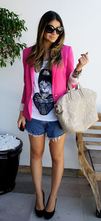 pink blazer, kitty tshirt, heels. Virtually the perfect outfit for me!