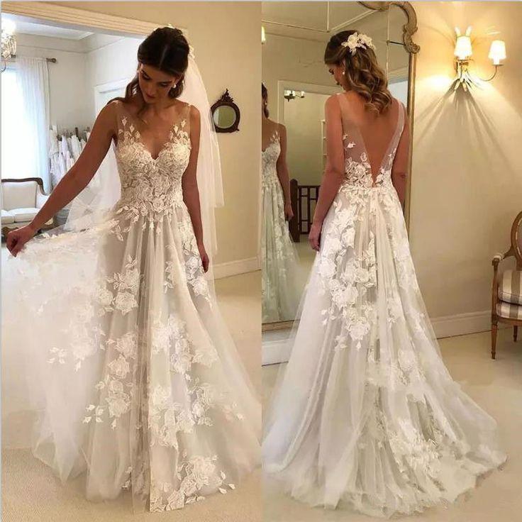 Elegant A-line Wedding Dresses V-Neck Rose Appliques Backless Bridal Gowns