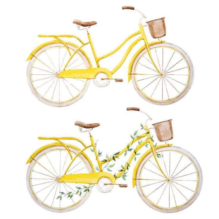 illustration, bicycle, yellow, cute, art