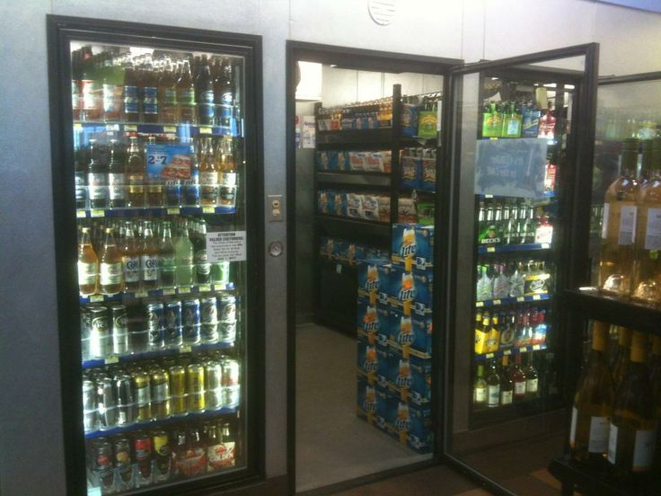 Man Cave Retail Store : Beer cave shelving from outside the refrigeration cooler