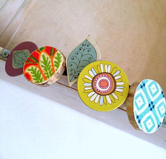 modern urban tree slice  and chipboard flower leaf magnets