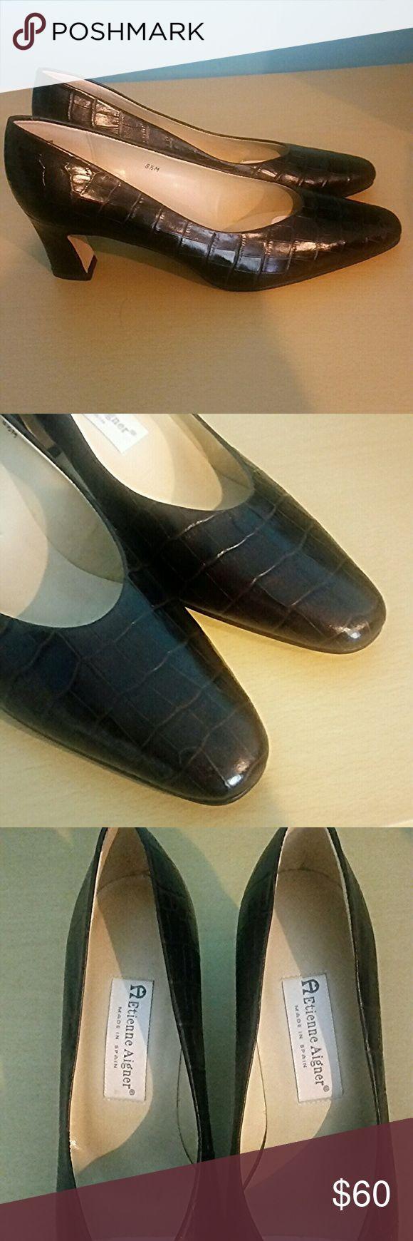 Etienne Aigner Leather Crocodile Patterned Heels Gorgeous Etienne Aigner Taylor dark brown leather crocodile patterned heels. New. 2.5 inch heel. Leather upper. Made in Spain. Etienne Aigner Shoes Heels