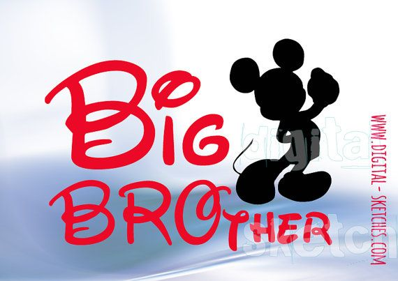 Big Brother Mickey Mouse Style SVG DXF Clipart by DigitalSketches