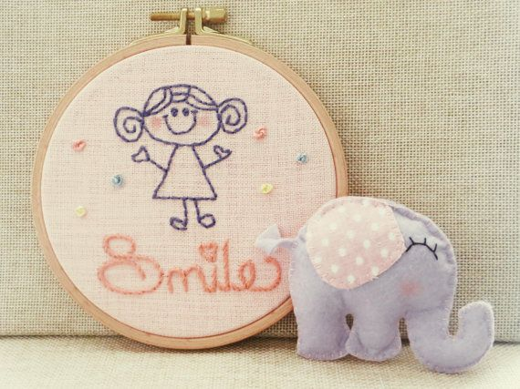 Baby Room Wall Art Customizable Embroidery Art by happyfacecraft