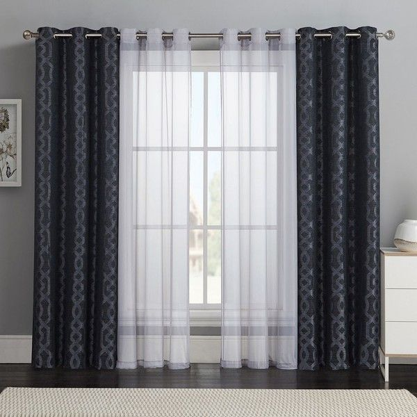Victoria Classics 4-pc. Barcelona Double-Layer Curtain Set (Black) ($52) ❤ liked on Polyvore featuring home, home decor, window treatments, curtains, black, grommet curtain panels, jacquard curtains, grommet window treatments, geometric curtain panels and window coverings