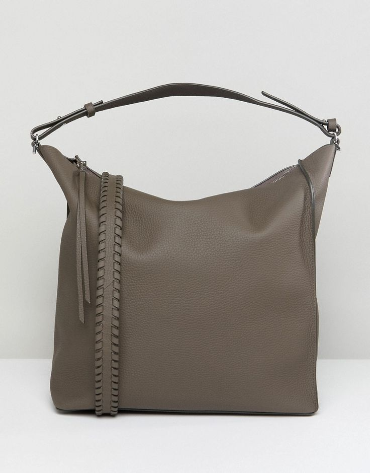 ALLSAINTS SLOUCHY LEATHER TOTE BAG - GRAY. #allsaints #bags #shoulder bags #hand bags #denim #leather #tote #