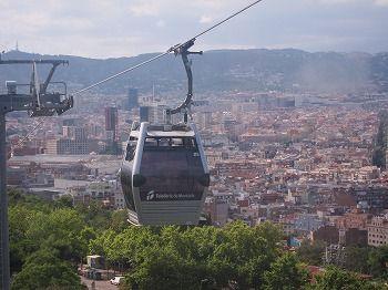 スペイン バルセロナ モンジュイックの丘へはロープウェイで行ける。