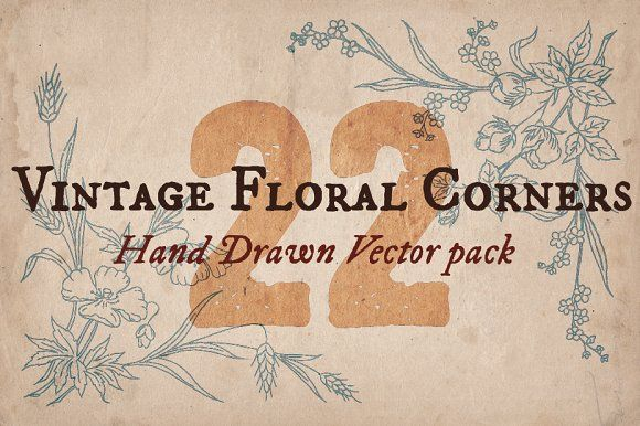 22 Vintage Floral Corners by Mr Vintage on @creativemarket