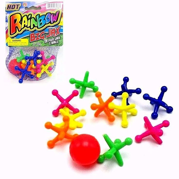 Ball Jacks Game 1 Ball 10 Large Jumbo Jax Soft Safe Rubber Kids 4+ Rainbow New #JaRu