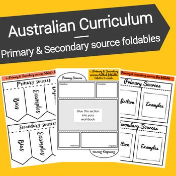 The use of primary and secondary sources is fundamental to the study of History.This resource links directly to the Historical knowledge and understanding strand of the Australian Curriculum. These foldables will assist students in defining and recalling examples of the two different types of historical sources.