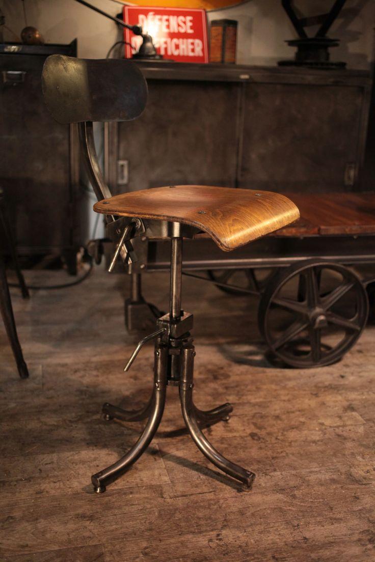 chaise ancienne d'atelier bienaise deco meuble industriel
