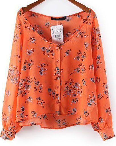 Blusa gasa suelta floral manga larga-naranja 16.25