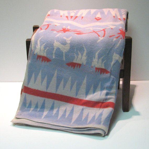 vintage 1950s Indian camp blanket: Vintage 1950S, Blanket Deer, 1950S Indian, Camp Blankets, Camper Remodel