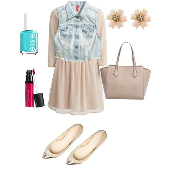 Under 100 by mirelacrihana on Polyvore featuring polyvore, fashion, style, VILA, H&M, MANGO, Laura Geller and Essie
