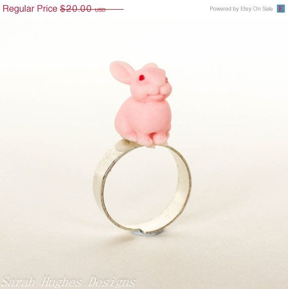 Early Easter Sale Light pink bunny rabbit silver by bunnyboutique