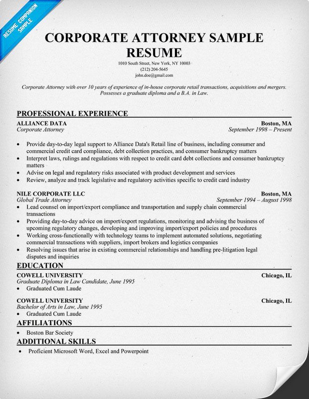 corporate attorney resume example  resumecompanion com