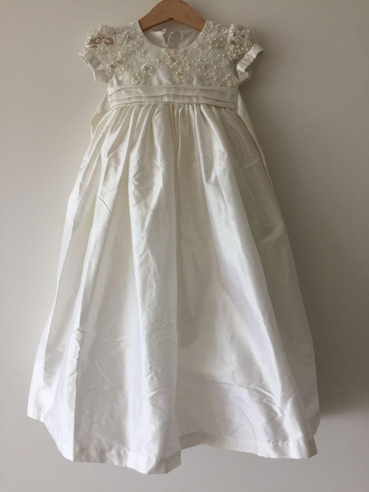 Handmade Silk Christening gown - High quality silk | Bisou Baby #silkdress #silkbabydress #christeningdress #christeninggirl #babygirl #baptismdress