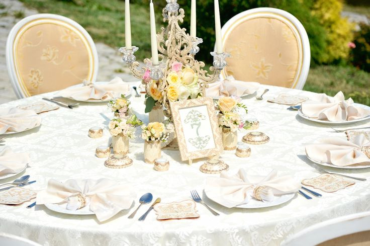 Victorian Glamour Wedding Decor - Gold & Ivory - Elegant, Antique, Vintage, Handpainted, Handmade -Table Setting , Candelabra, Lace - by Satori Art & Event Design