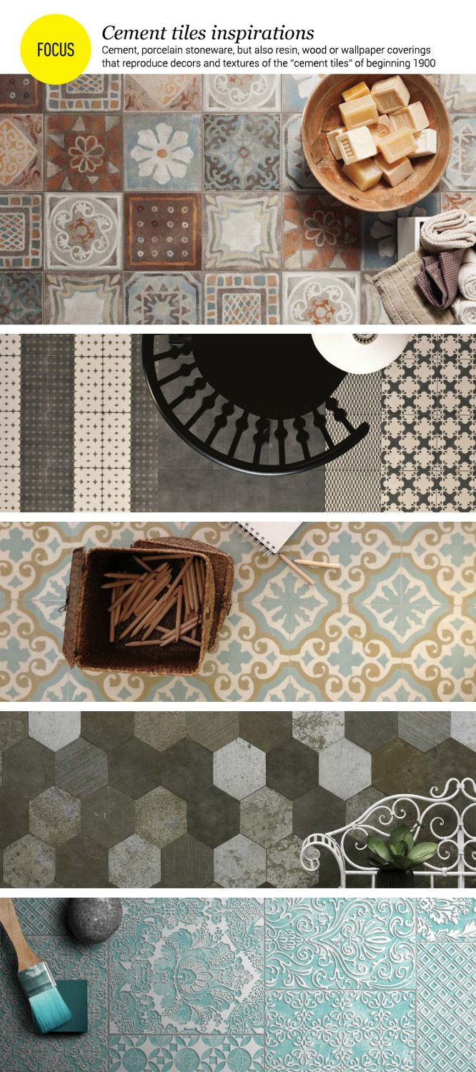 #Cement #tiles inspirations: Cement, porcelain stoneware, but also resin, wood or wallpapers that reproduce decors and texture of the tipical cement tiles of beginning 1900