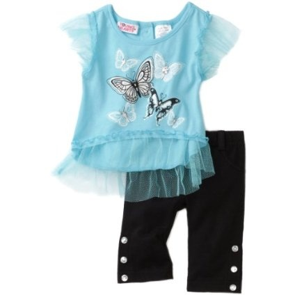 Young Hearts Baby-Girls Infant Butterfly Print Knit Top With Capri Pant Set $23.80