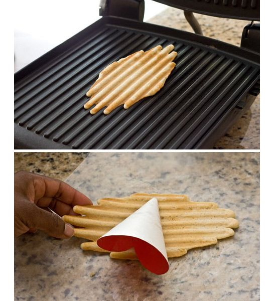now THIS is a way i could use my panini pan every day... Make Ice Cream Cones In Your Panini Press Panini Happy