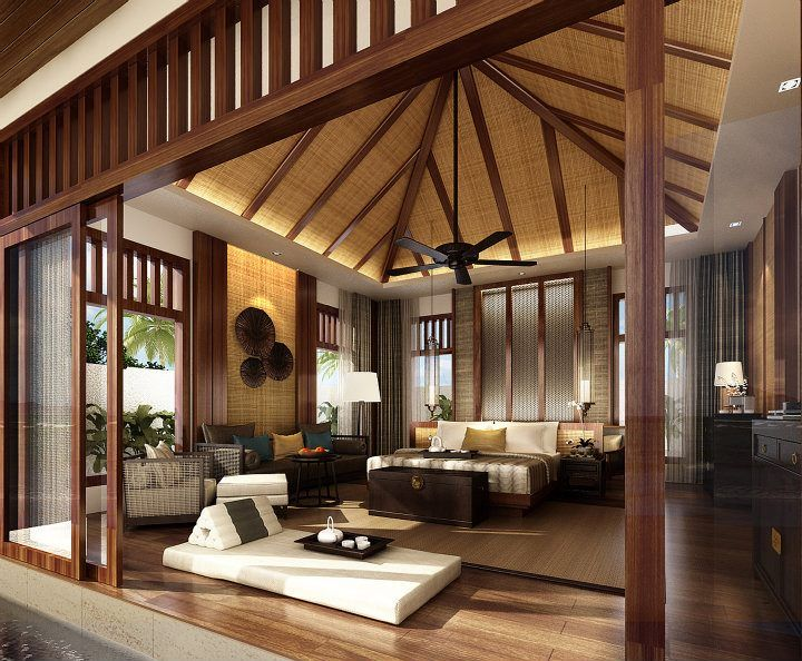 Oriental style home design , villa bedroom and living area at Anantara Sanya Resort & Spa, Hainan China
