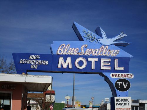 (Hello hearters! I don't own this picture. Original description and image source were kept!). Historic Neon Motel Sign, Close-up: Blue Swallow Motel, Route 66, Tucumcari, NM. por classic film #street #blue #vintage #old #road #retro #photography #indie #city #classic #photooftheday #FF #instafollow #random