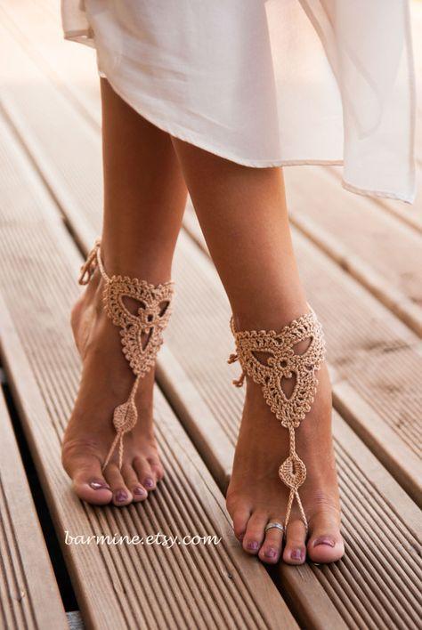 Champagne sandalias pies descalzos zapatos Nude joyería por barmine