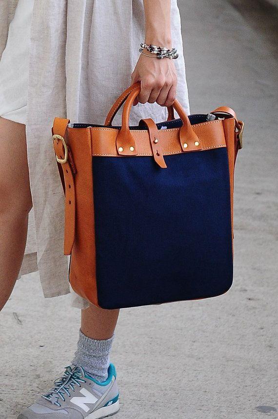 Artemis Leatherware Handmade Tan Leather And Canvas Shoulder
