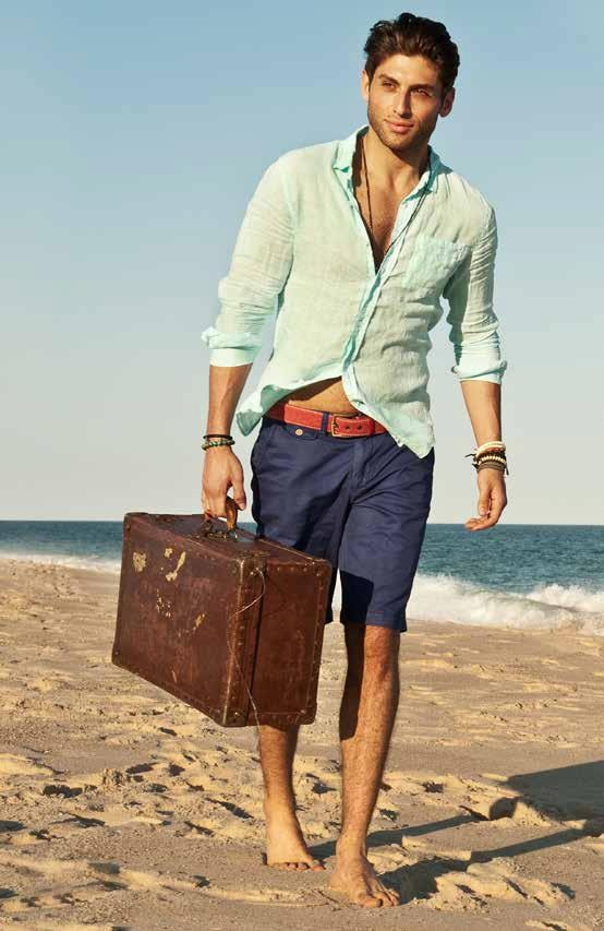 Great guy casual summer outfit! #JACHS ~~~~~~~~~~~~~~~~~~~~~~~~~~~~~~~~~ #belt #blue #seaside #beach #luggage