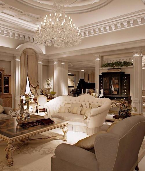Everything in this room is my style!  Love the tufted sofa...