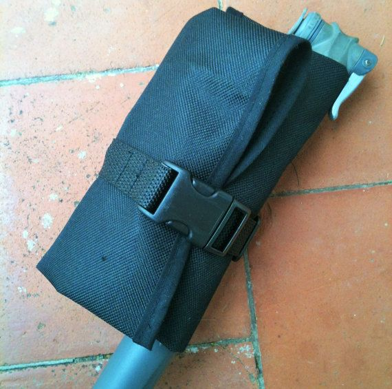 Bicycle tool roll, saddle bag, accessory and tool pouch, Stealth Black, Cordura.