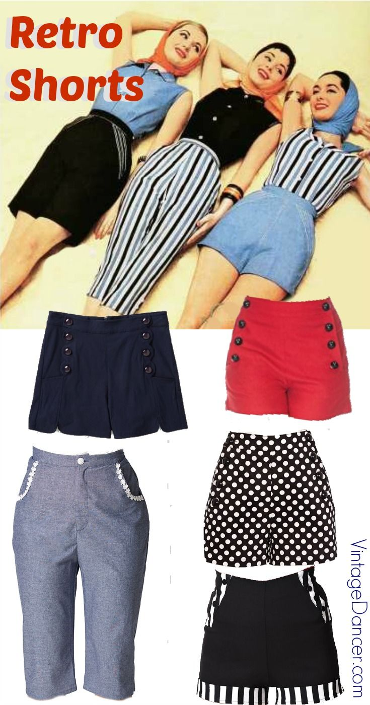1940s, 1950s Retro vintage shorts, pedal pushers, crop capri, bermuda shorts, sailor shorts, and pinup shorts at VintageDancer.com