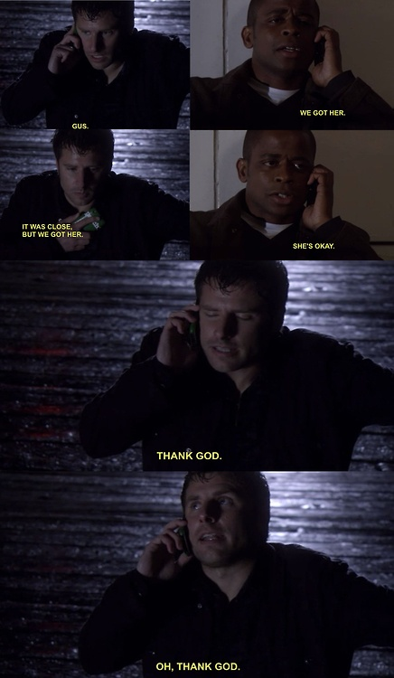 Psych: Shawn's relief when he hears that Juliet is safe. I hate Jules reaction when she realizes Shawn picked Abigail...