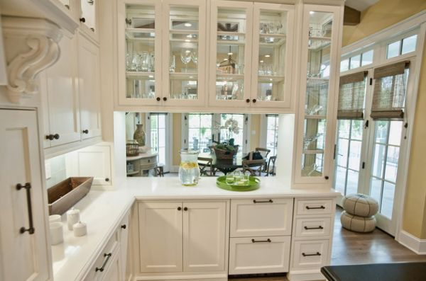 28 Kitchen Cabinet Ideas With Glass Doors For A Sparkling Modern Home--this could be a way to save the cabinet space between office and kitchen