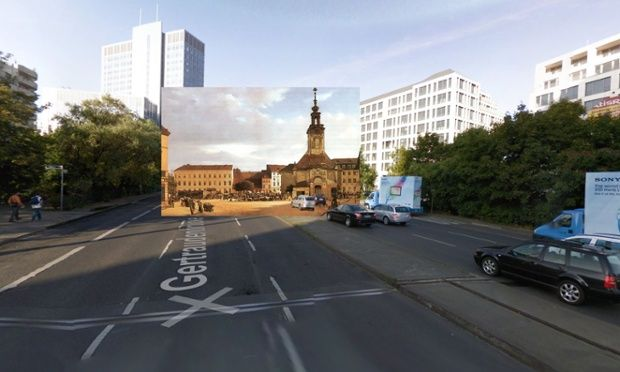 Classic paintings of world cities meet Google Street View – in pictures.  Spittelmarkt (1833) by Eduard Gärtner. St Gertrude's, pictured, stood here from 1440 until the 1880s. There is still an open space and a square here (at the convergence of a huge set of roads and the U-bahn station Spittlemarkt), but the buildings no longer stand. Photograph: Halley Docherty