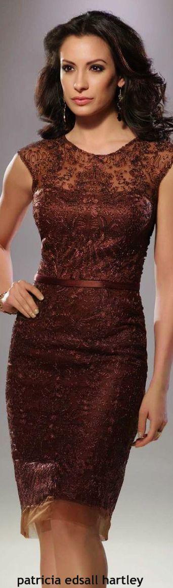 Mon Cheri brown lace dress women fashion outfit clothing style apparel @roressclothes closet ideas